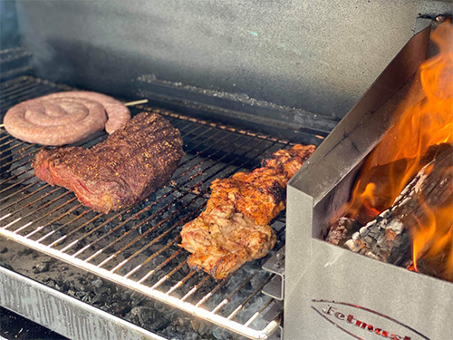 Jetmaster BBQs with meat cooking