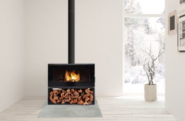 VisionLINE taurus with wood stack in white home